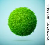 green grass sphere on a blue... | Shutterstock .eps vector #200155373