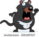 A happy cartoon Tasmanian devil waving and smiling.