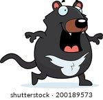 A happy cartoon Tasmanian devil walking and smiling.