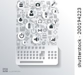 keyboard icon. flat abstract...