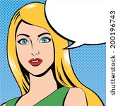 woman face comic with speech... | Shutterstock .eps vector #200196743