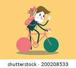 Businessman riding a bike and say hi. flat design element .vector illustration - stock vector