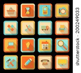 flat style colorful icons with...