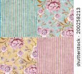 vintage floral background set ... | Shutterstock . vector #200258213