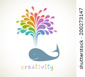Vector Icon Of Whale With Colo...