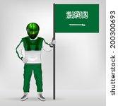 standing racer holding Saudi Arabia flag vector illustration