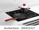 frying pan and cooking pot at... | Shutterstock . vector #200321417