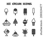 ice cream icons  mono vector...