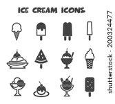 Ice Cream Icons  Mono Vector...