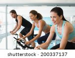 fit people in a spin class at... | Shutterstock . vector #200337137