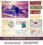 travel vintage postcard design... | Shutterstock .eps vector #200384987