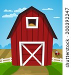 red farm barn | Shutterstock .eps vector #200392247