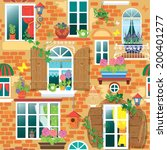 seamless pattern with windows... | Shutterstock . vector #200401277