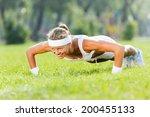 young attractive sport girl in... | Shutterstock . vector #200455133