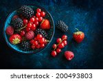 Summer Berries In Bowl On A...