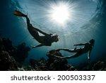 underwater shot of the couple... | Shutterstock . vector #200503337