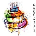 birthday cake water color | Shutterstock .eps vector #200531153