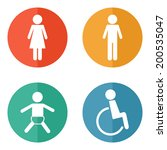 vector restroom icons on bright ... | Shutterstock .eps vector #200535047