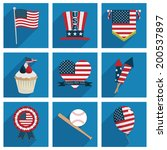 collection of square usa icons... | Shutterstock .eps vector #200537897