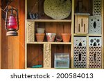 shelf with insect hotel and