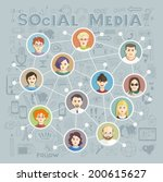 social media circles  network... | Shutterstock .eps vector #200615627
