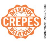 delicious crepes stamp or label ... | Shutterstock .eps vector #200673683