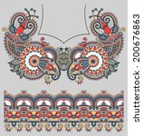 Neckline ornate floral paisley embroidery fashion design, ukrainian ethnic style. Good design for print clothes or shirt