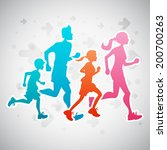 Vector illustration of a family running exercise.