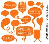 big set of hand drawn speech... | Shutterstock .eps vector #200711663
