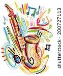 splatter sax | Shutterstock .eps vector #200727113