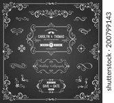 ornate chalkboard frames and... | Shutterstock .eps vector #200799143