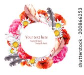floral pretty circle wreath... | Shutterstock . vector #200866253