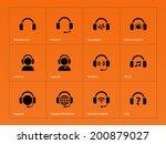 earphones icons on orange...
