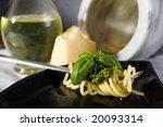 spaghetti al pesto  a tipical... | Shutterstock . vector #20093314