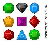 set of multicolored gems for...   Shutterstock .eps vector #200973203
