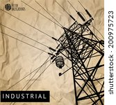 high voltage power lines on old ... | Shutterstock .eps vector #200975723