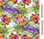 wild flowers seamless pattern... | Shutterstock .eps vector #201059057