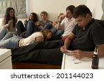 teenagers drinking and smoking | Shutterstock . vector #201144023