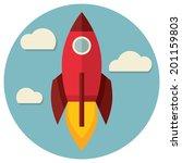 space rocket flying in sky ... | Shutterstock .eps vector #201159803