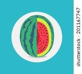 sliced melon flat design | Shutterstock .eps vector #201167747