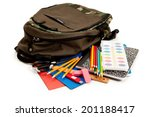 school  backpack surrounded by... | Shutterstock . vector #201188417