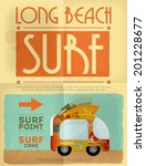 surf retro poster with bus in... | Shutterstock .eps vector #201228677