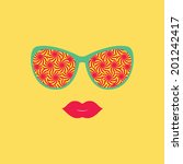 sunglasses and lips. vector... | Shutterstock .eps vector #201242417