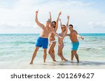 young happy friends havin fun... | Shutterstock . vector #201269627