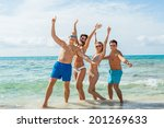 young happy friends havin fun... | Shutterstock . vector #201269633