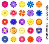 colorful vector flowers set ... | Shutterstock .eps vector #201298007