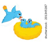 Bird Feed Babies Vector...