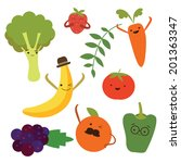 vegetable food cartoons | Shutterstock .eps vector #201363347