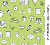 school doodle pattern seamless... | Shutterstock .eps vector #201390047
