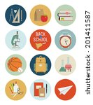 vector set of back to school... | Shutterstock .eps vector #201411587